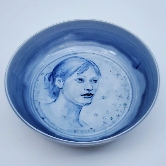Image of Cobalt Portrait of Shannon Porcelain Bowl