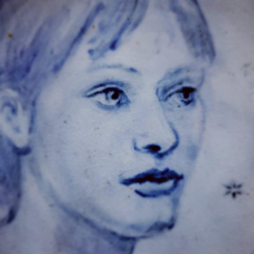 Image of Cobalt Portrait of Shannon Porcelain Bowl