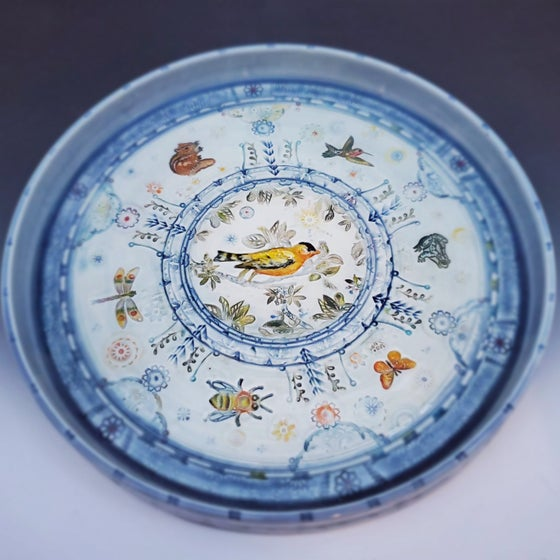 Image of Large Goldfinch Garden Handpainted PorcelainPlatter