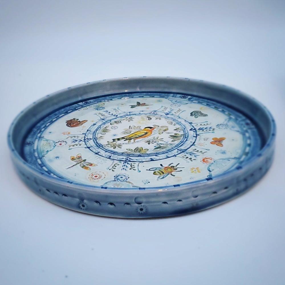 Image of Large Goldfinch Garden Handpainted PorcelainPlatter