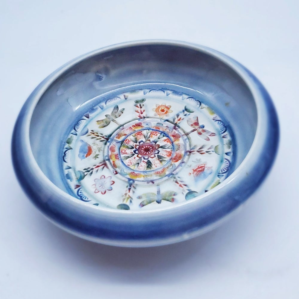 Image of  Porcelain Cobalt Dragonfly Mandala Wall Piece