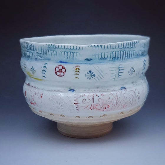 Image of Woodfired  Porcelain  Exotic Bird Tea Bowl