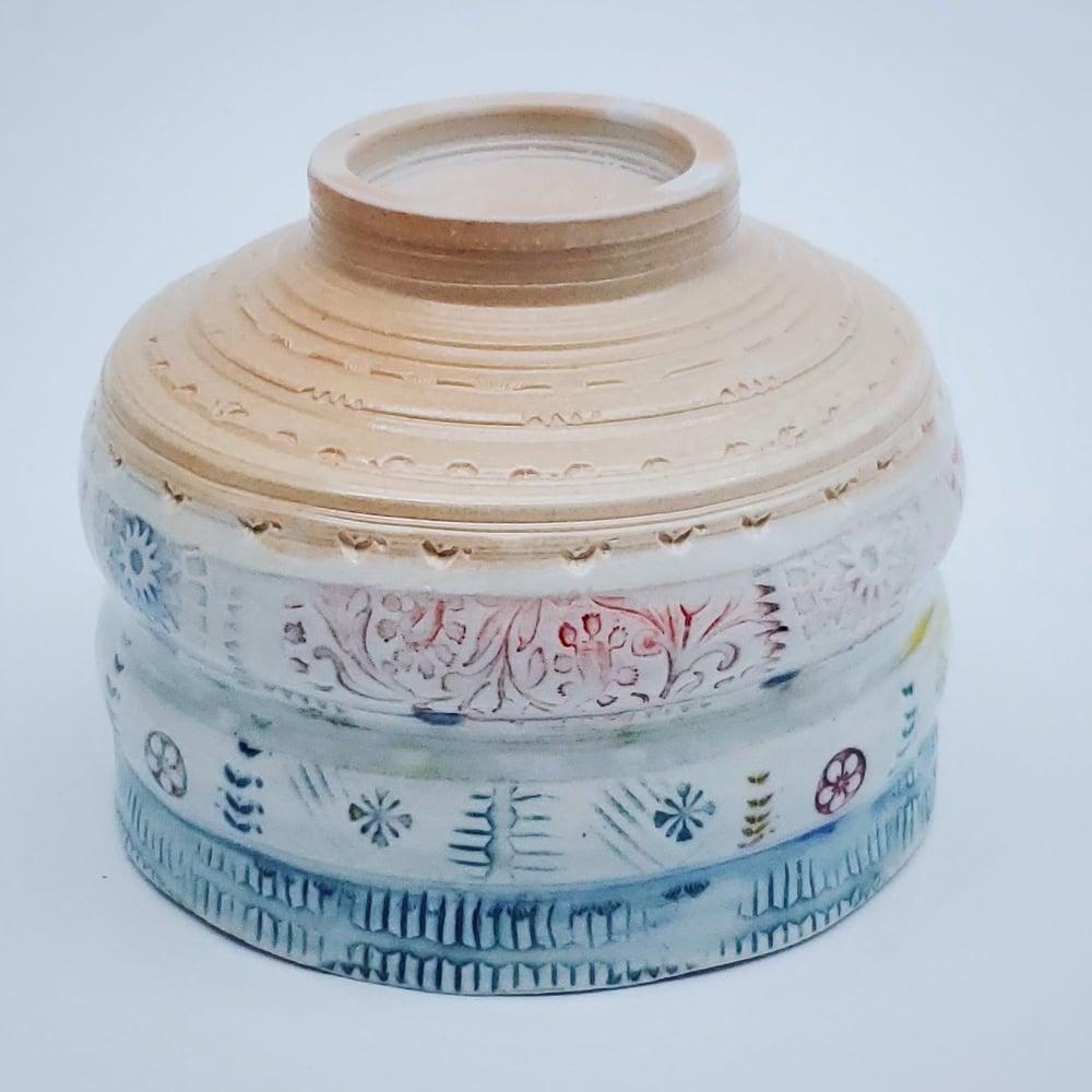 Image of Woodfired  Porcelain  Exotic Bird Tea Bowl