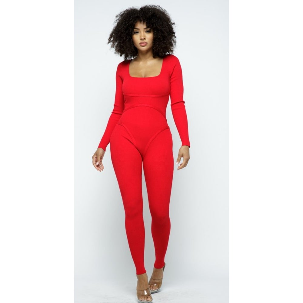 Image of Day Party Jumpsuit (Red)