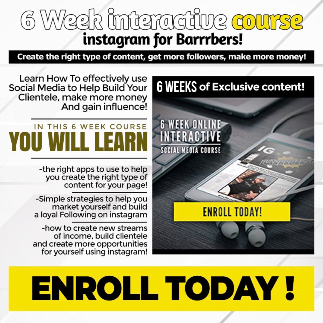 Image of *LIVE INTERACTIVE 6 WEEK SOCIAL MEDIA COURSE* Instagram For BARRRBERS!