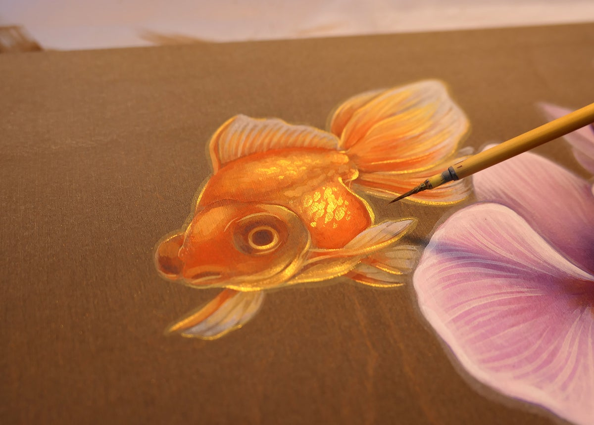 Goldfish Mermaids and Orchids Original Painting