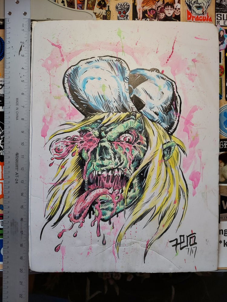 Image of Toxic waste zombie original art