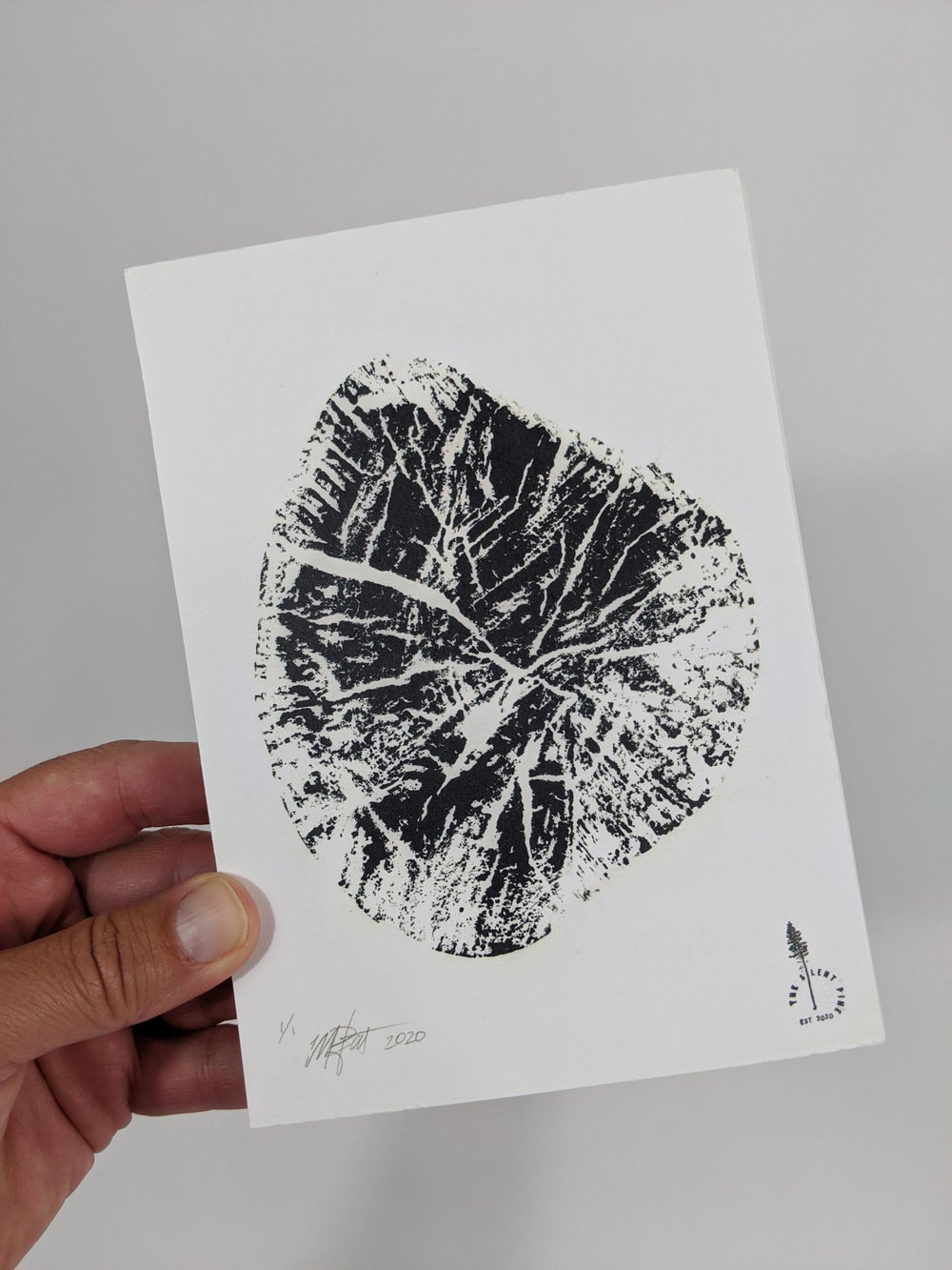 """""""Heart"""" - Our original wood tree ring block art print on recycled paper."""