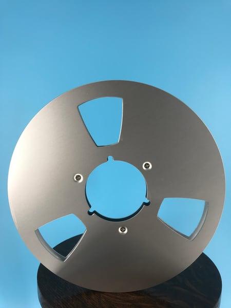 "Image of Burlington Recording 1/4"" x  10.5"" SILVER NAB Aluminum Metal Reel with White Hinged Set up Box NEW"