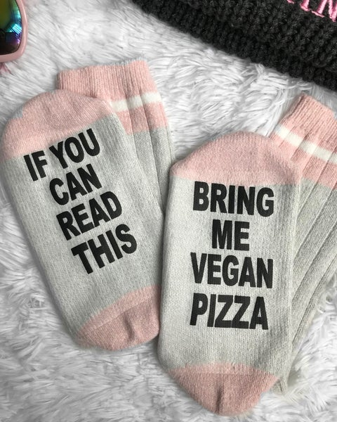 Image of If you can read this Novelty vegan socks Pink/grey
