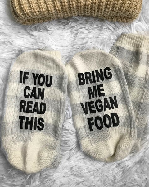 Image of If you can read this novelty socks oatmeal plaid