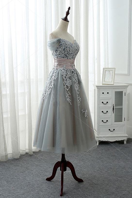 Elegant Grey Tea Length Lace Applique Bridesmaid Dress, Tulle Short Party Dress