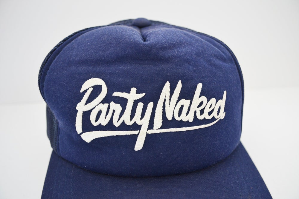 "Image of Vintage 1980's ""Party Naked"" Navy Blue Youngan Trucker Snapback"
