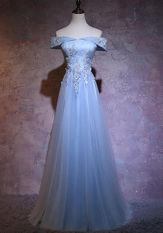 Light Blue Tulle Sweetheart Long Formal Dress, Blue Prom Dress 2021