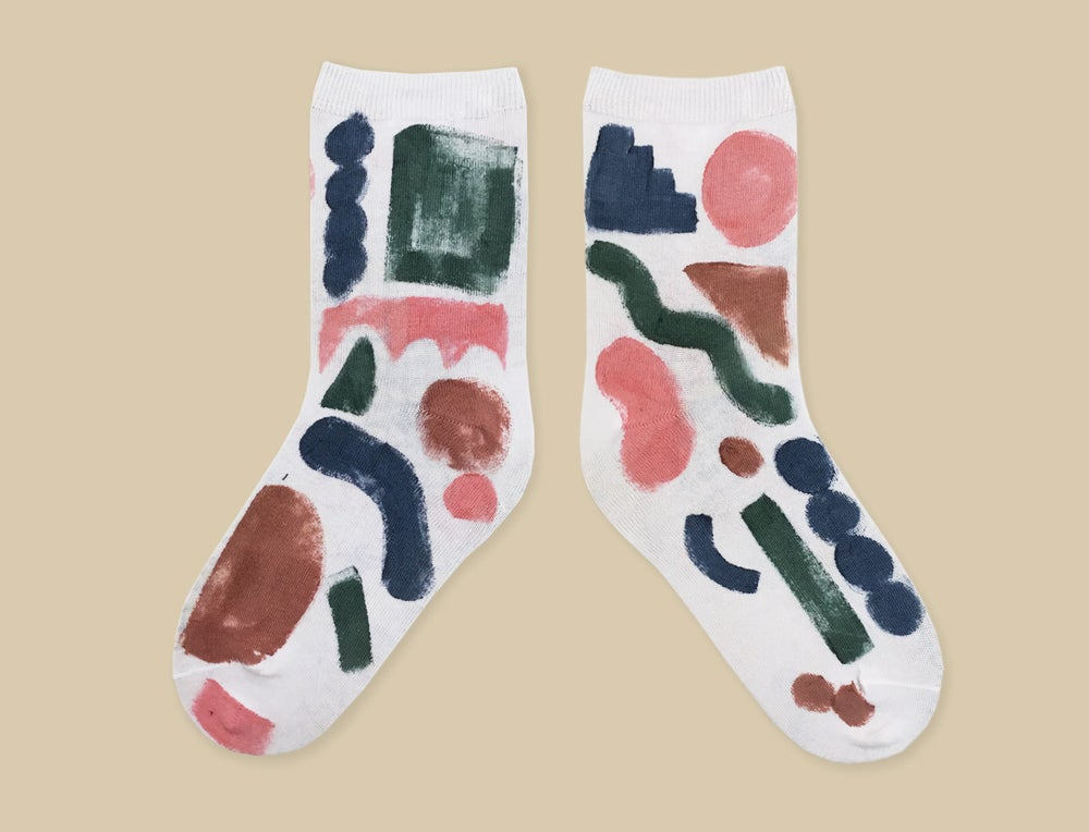 Image of COLOR SHAPES PAINTED SOCKS