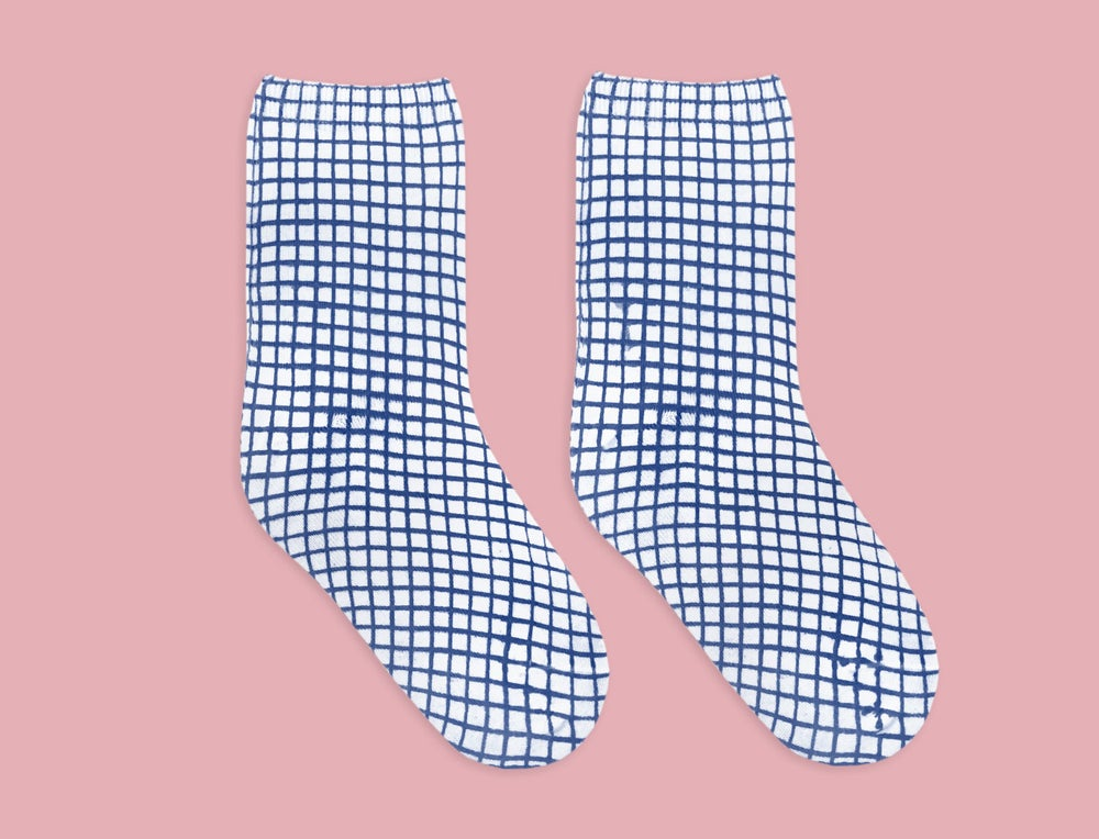 Image of BLUE GRID SOCKS