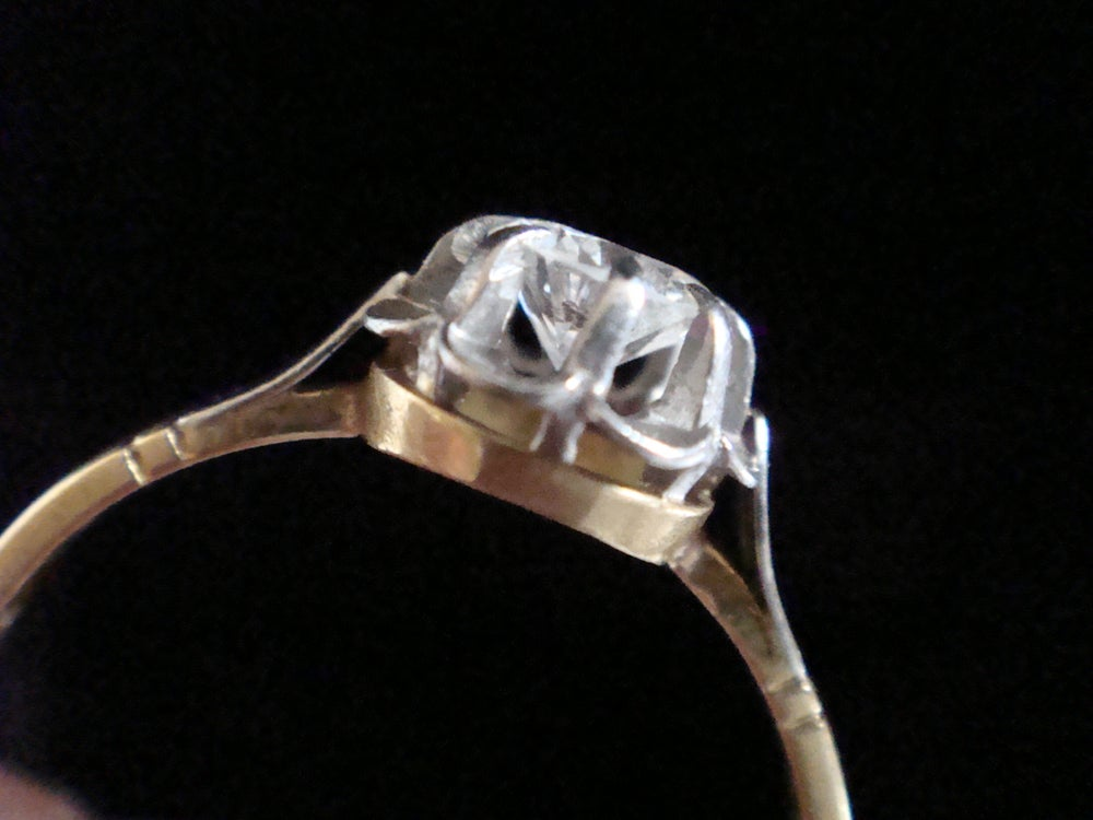 Image of Edwardian 18ct yellow gold platinum French transitional diamond solitaire ring 0.50ct