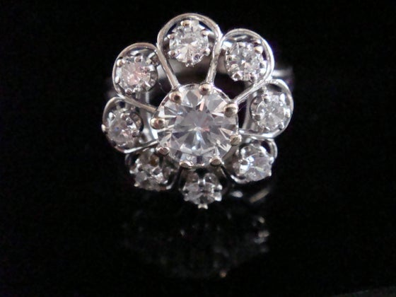 Image of Antique 18ct white gold French transitional diamond clyster 1.44ct ring