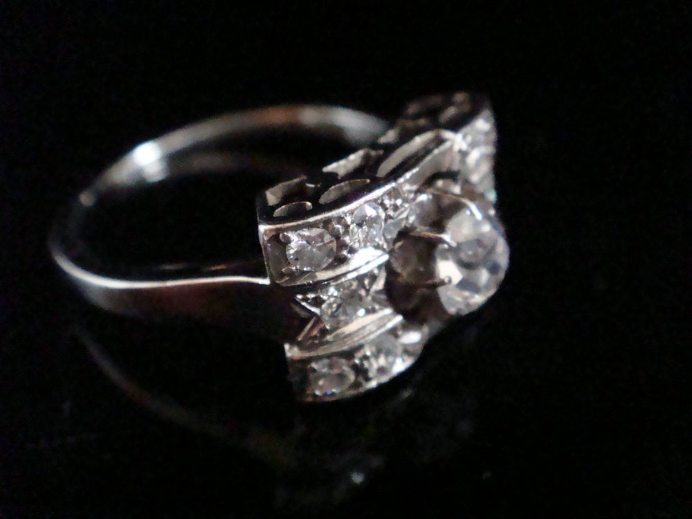Image of Art deco 18ct white gold French 0.80ct pave set old cut diamond ring