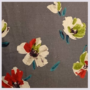 Image of Tissu: Oil painted flowers