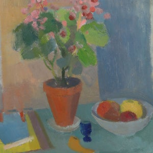 Image of Mid-Century, Swedish Painting, Geraniums, INGVAR ELÉN.