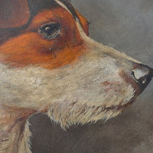 Image of Early 20th Century, French Oil Painting, ' Fox Terrier.'
