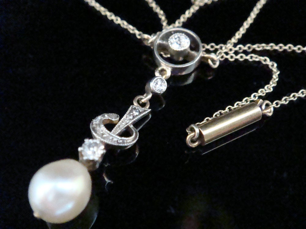 Image of Edwardian 9ct yellow gold platinum cultured pearl diamond necklace