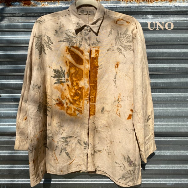 Image of one of rust button down shirt 5/5