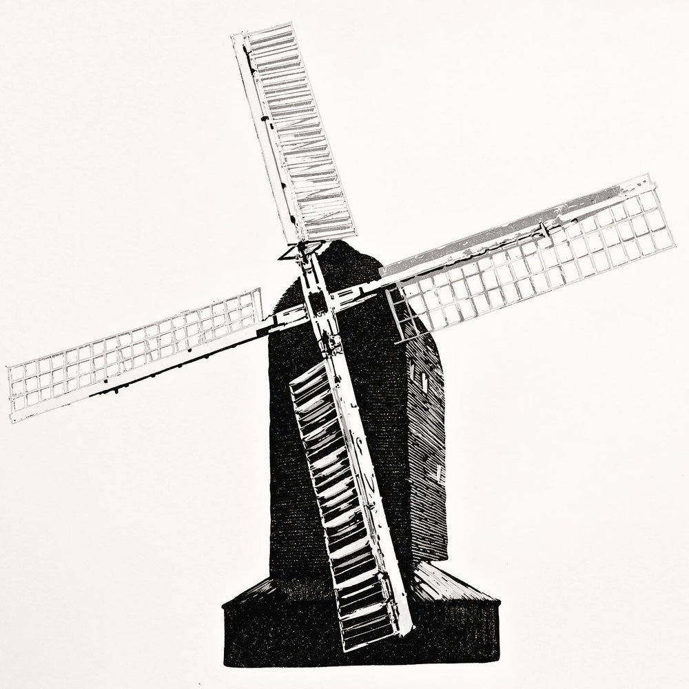 Image of High Salvington Windmill, reduction linocut