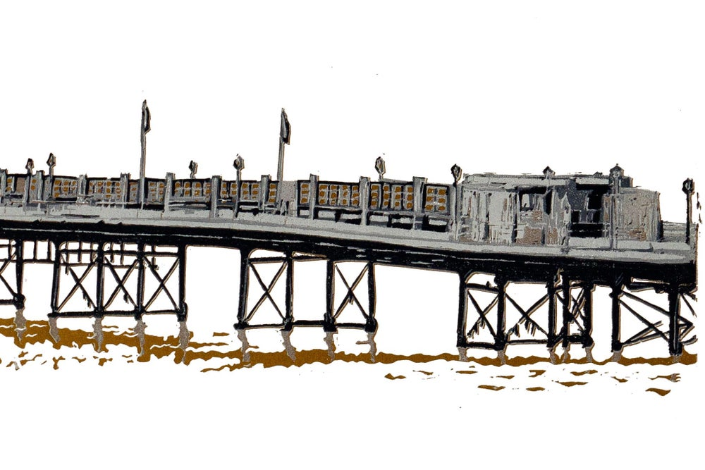 Image of Worthing Pier (Sussex, UK),  reduction linocut