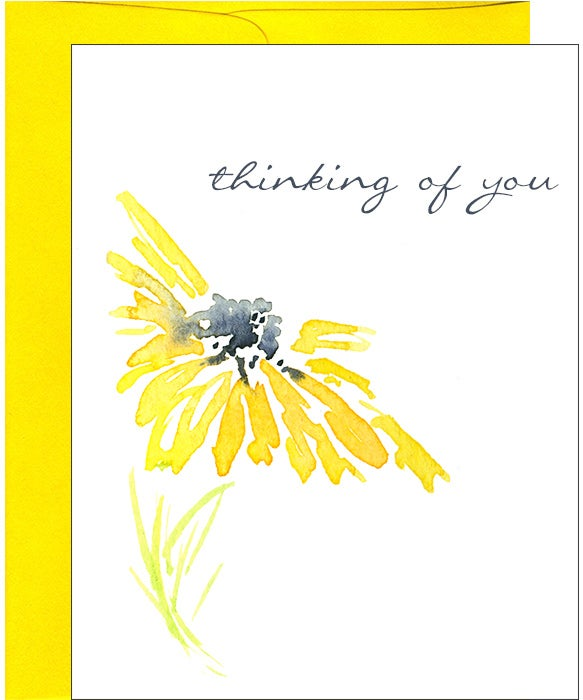Yellow Daisy Watercolor Thinking Of You Note Card Pink Bathtub Designs