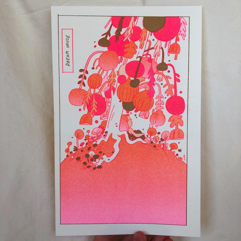 Dream House Metallic Gold Riso Print
