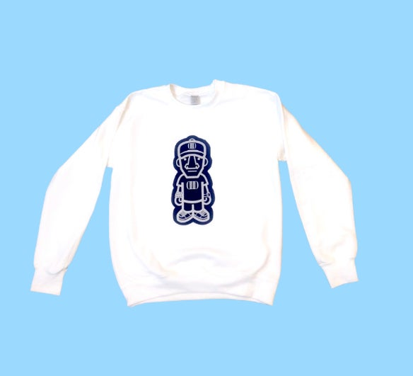 White Sweater with Blue Suede/Reflective Character