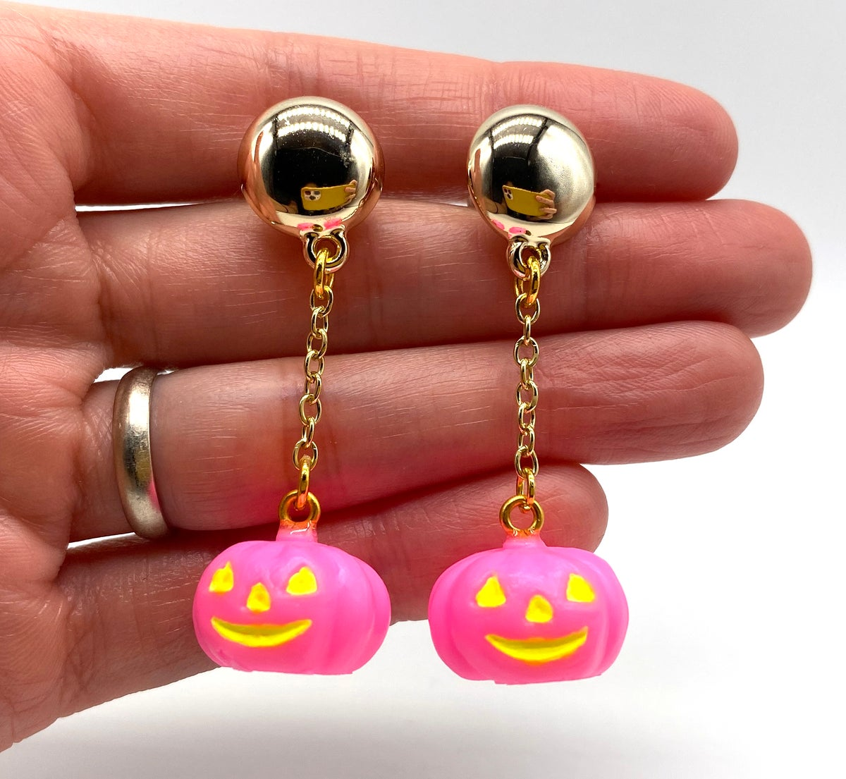 Image of Halloween Pumpkin Dangle earrings