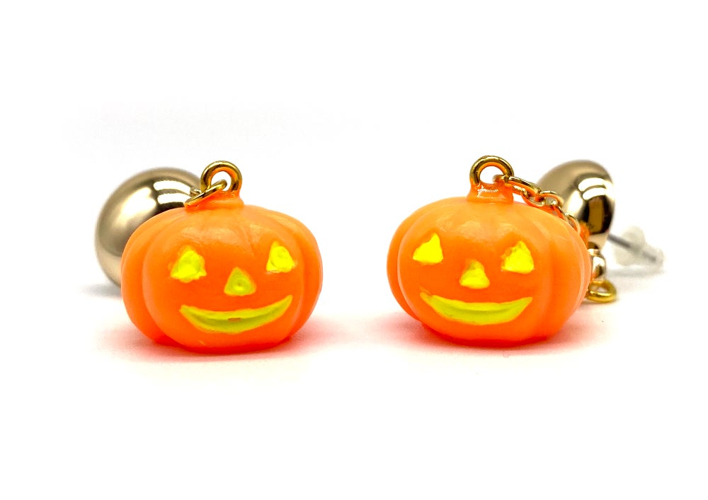 Image of HALLOWEEN PUMPKIN DANGLE EARRINGS Orange