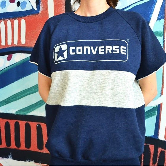 Image of Vintage 1980's Converse Colorblock Short Sleeve Workout Sweatshirt Sz.L