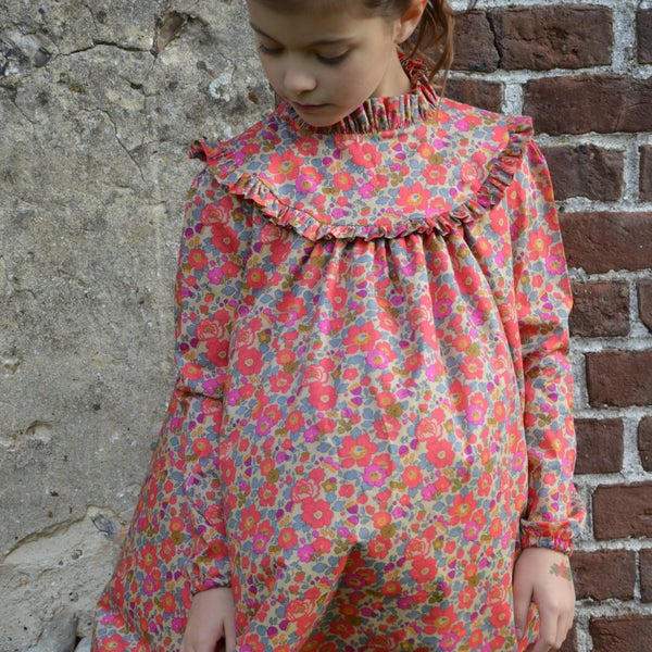 Image of Robe liberty betsy fluo thé col montant