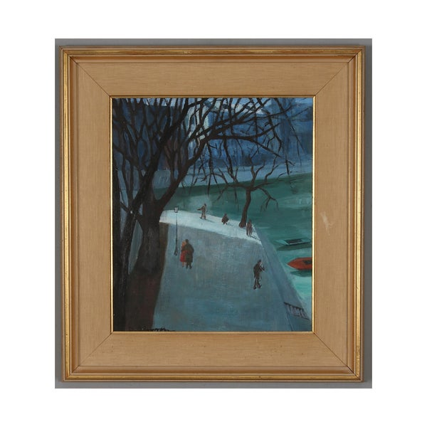 Image of Mid Century French Oil Painting The Promenade, DANIELLE DHUMEZ.
