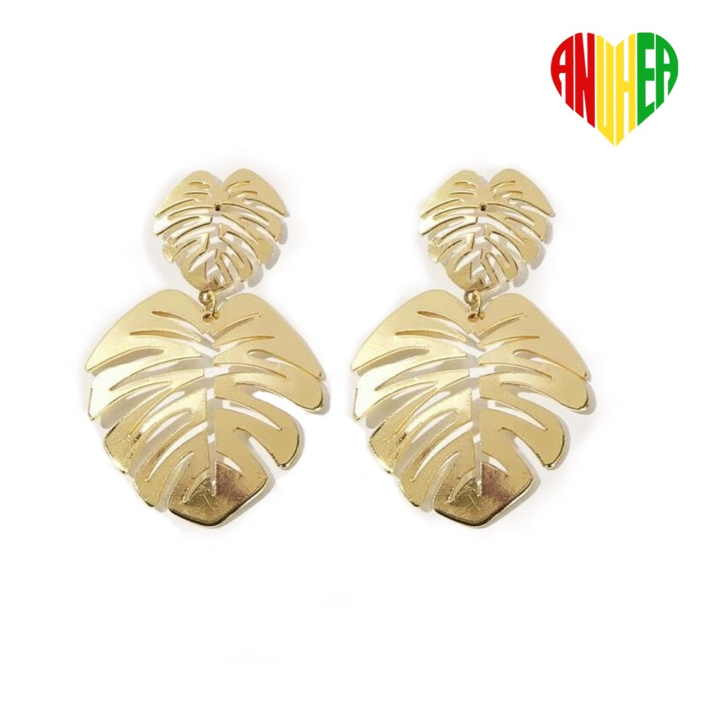Image of NEW! Golden Monstera Leaf Earrings