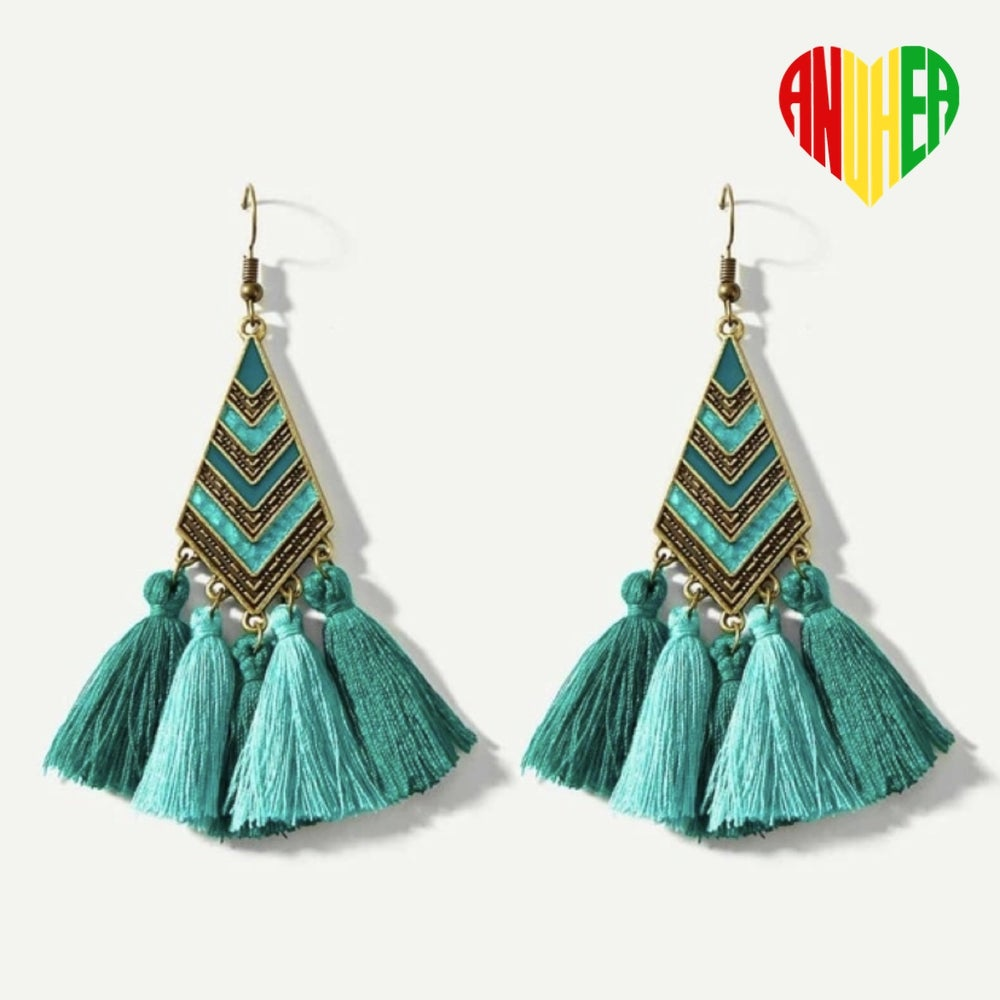 Image of NEW! Moana-Turquoise Tassel  Earrings