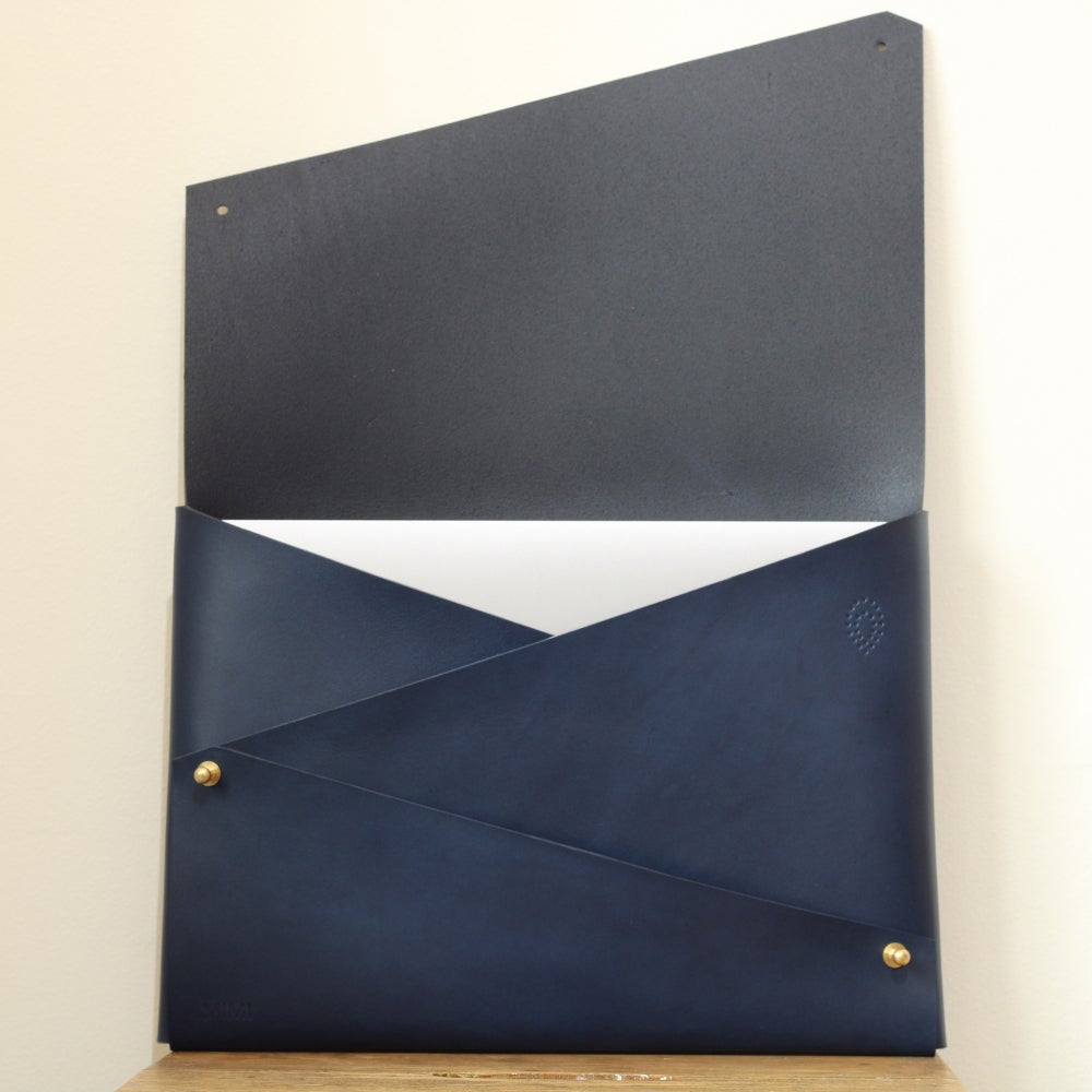 Image of Origami Leather MacBook Case in Navy