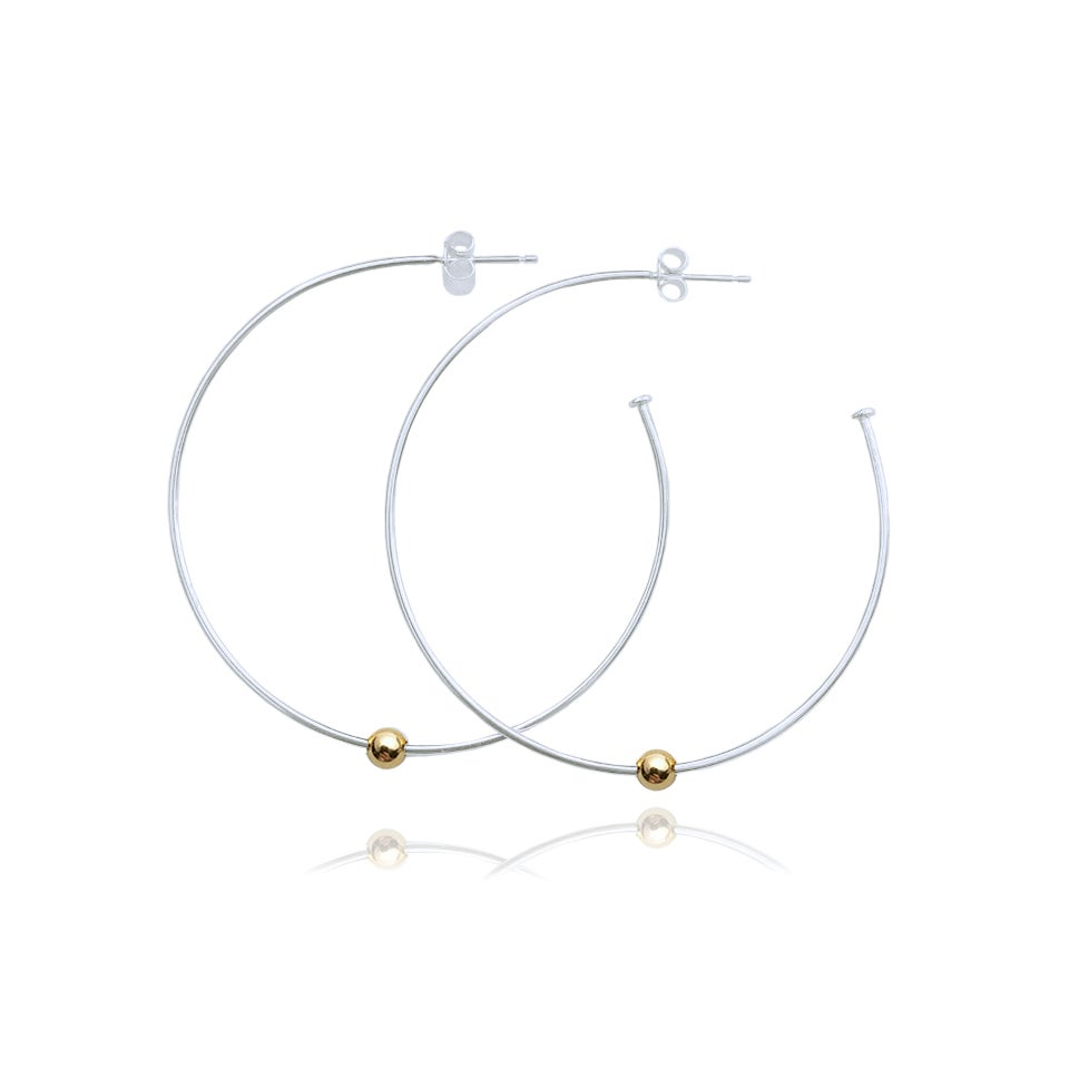 Image of Large hoops with single gold bead