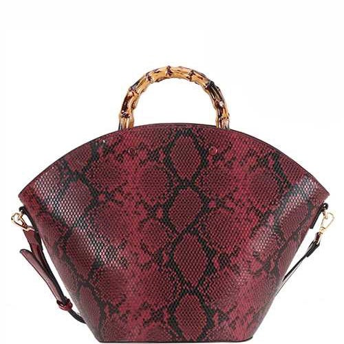Image of BambooSnakeskin Bag (Burgundy)
