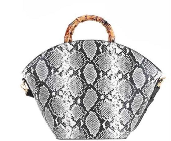 Image of BambooSnakeskin Bag (blk/wht)