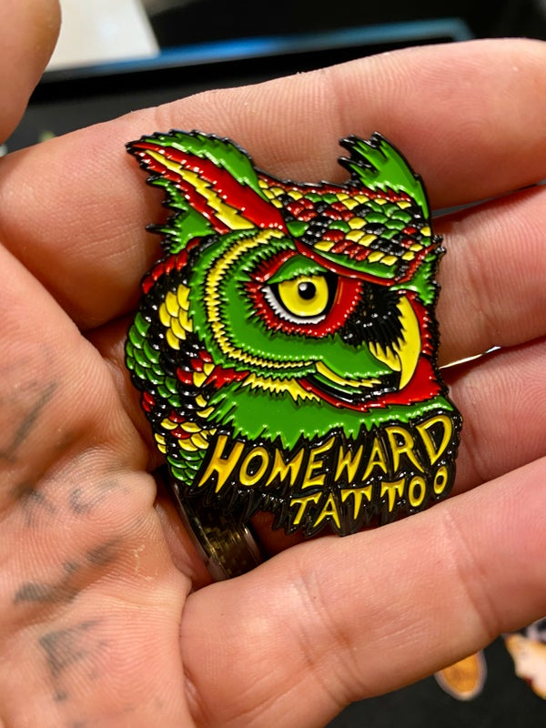 Image of Rasta Owl Homeward Tattoo pin LE100