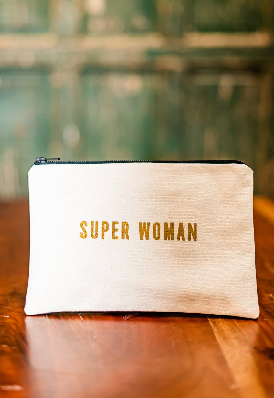 Image of Superwoman bag: SUPER WOMAN (front/cream), SUPER SLEEPY (back/black)