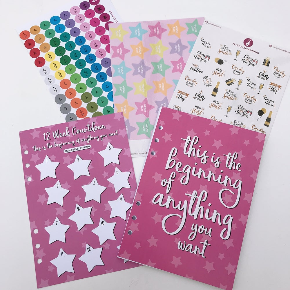 Image of THIS IS THE BEGINNING OF ANYTHING YOU WANT FOOD DIARY ORGANISER BUNDLE