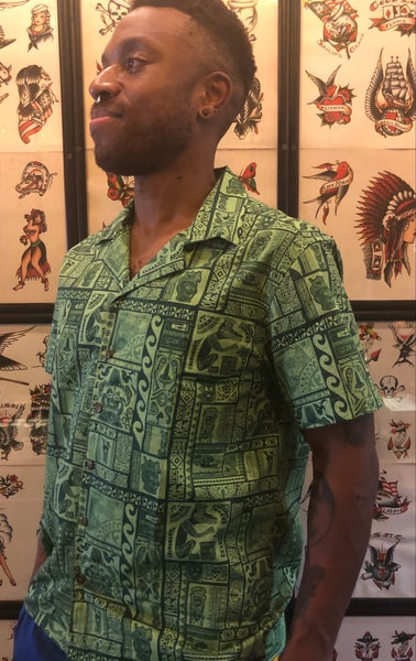 Image of LE Batch Run: TS Tapa Green Aloha Shirt