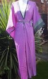 Katie kimono kaftan dress- PURPLE CHECKS