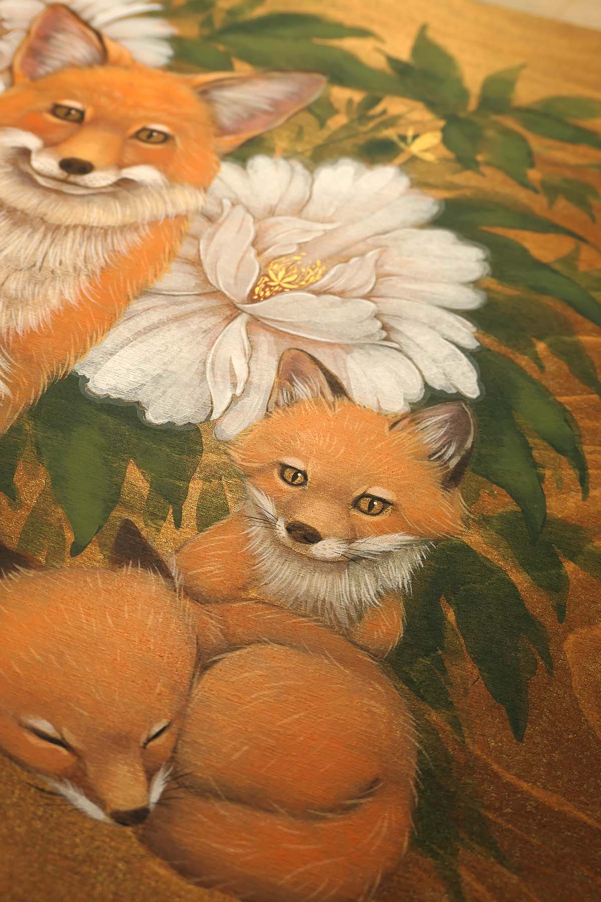 Foxes and Peonies Original Painting